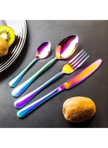 Koopman 16 Parça Renkli Çatal Kaşık Bıçak Seti Renkli